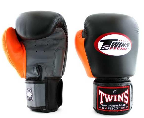 Twins Grey-Black-Orange Dual Color Boxing Gloves - Velcro Wrist - Image 2