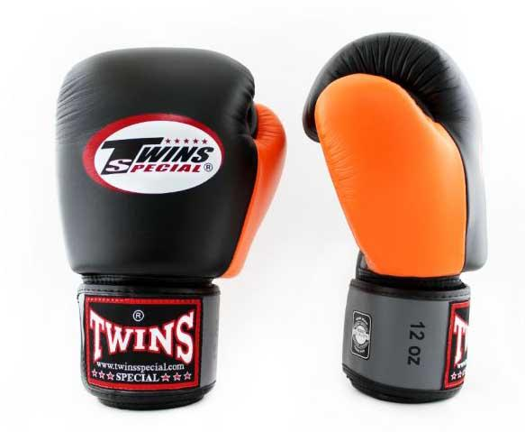 Twins Grey-Black-Orange Dual Color Boxing Gloves - Velcro Wrist - Image 1