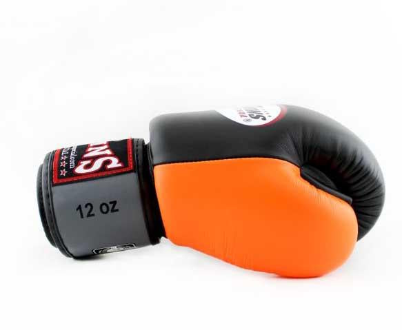 Twins Grey-Black-Orange Dual Color Boxing Gloves - Velcro Wrist - Image 3