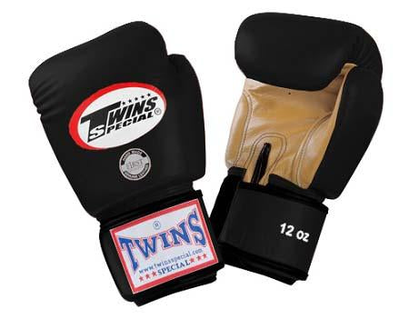 Twins Boxing Gloves- Dual Color - Gold Black - Premium Leather w/ Velcro