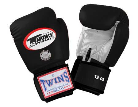 Twins Boxing Gloves- Dual Color - Silver Black  Premium Leather w/ Velcro