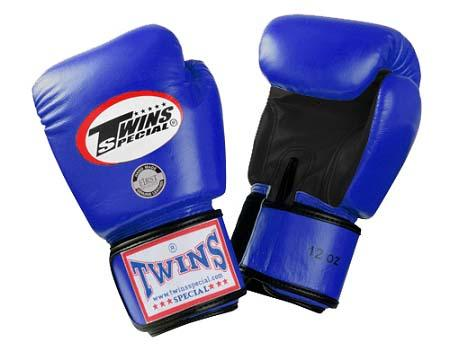 Twins Boxing Gloves- Dual Color - Black Blue - Premium Leather w/ Velcro