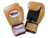 Twins Boxing Gloves- Dual Color - Black Gold - Premium Leather w/ Velcro