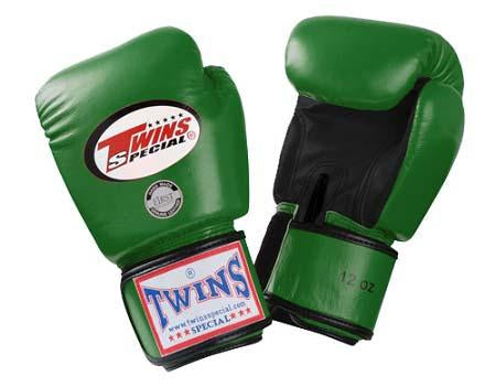 Twins Boxing Gloves- Dual Color - Black Green - Premium Leather w/ Velcro