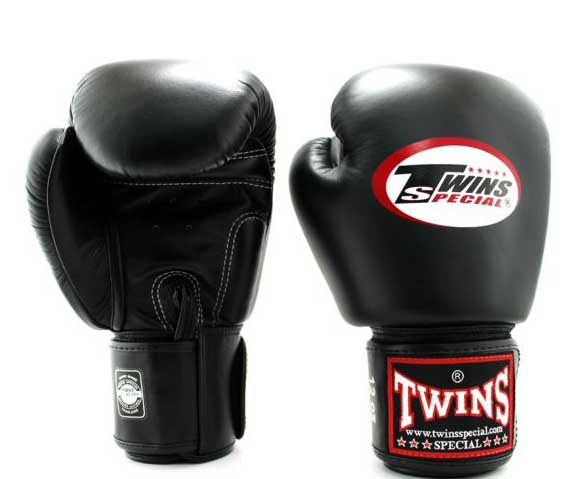 Black Twins Boxing Gloves - Velcro Wrist - Image 1