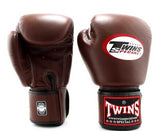 Dark-Brown Twins Boxing Gloves - Velcro Wrist - Image 1