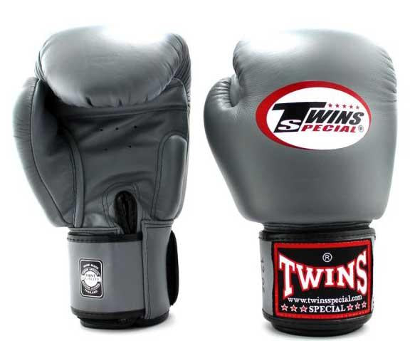 Grey Twins Boxing Gloves - Velcro Wrist - Image 1