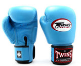 Light Blue Twins Boxing Gloves - Velcro Wrist - Image 2