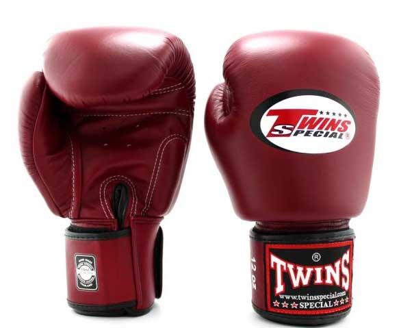 Maroon Twins Boxing Gloves - Velcro Wrist - Image 1