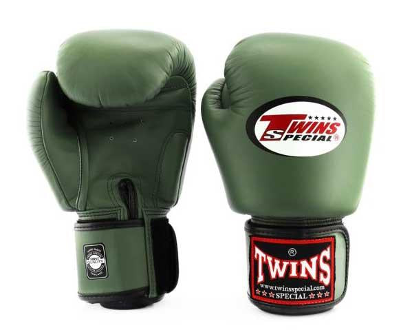 Olive Twins Boxing Gloves - Velcro Wrist - Image 2