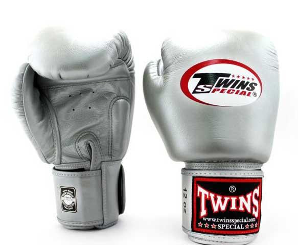 Silver Twins Boxing Gloves - Velcro Wrist - Image 1