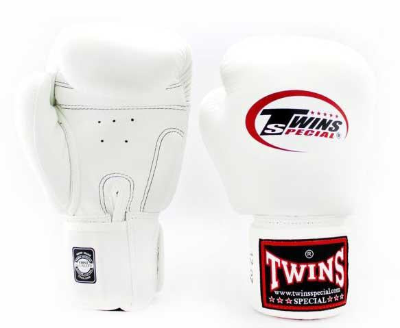 White Twins Boxing Gloves - Velcro Wrist - Image 1