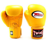 Yellow Twins Boxing Gloves - Velcro Wrist - Image 2