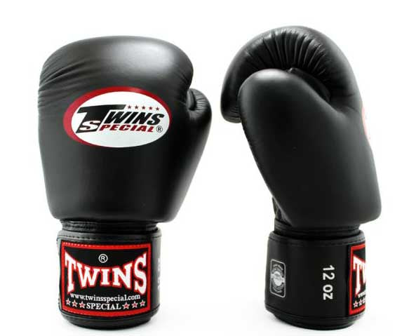 Black Twins Boxing Gloves - Velcro Wrist - Image 2
