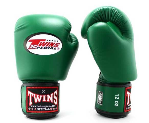 Dark-Green Twins Boxing Gloves - Velcro Wrist - Image 2