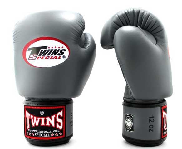 Grey Twins Boxing Gloves - Velcro Wrist - Image 2