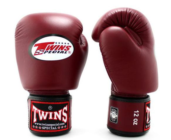 Maroon Twins Boxing Gloves - Velcro Wrist - Image 2