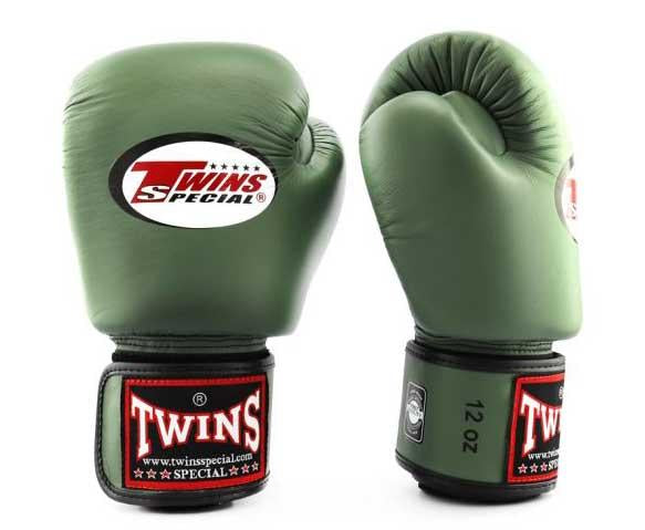 Olive Twins Boxing Gloves - Velcro Wrist - Image 1