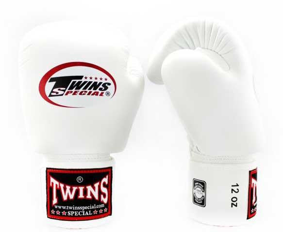 White Twins Boxing Gloves - Velcro Wrist - Image 2
