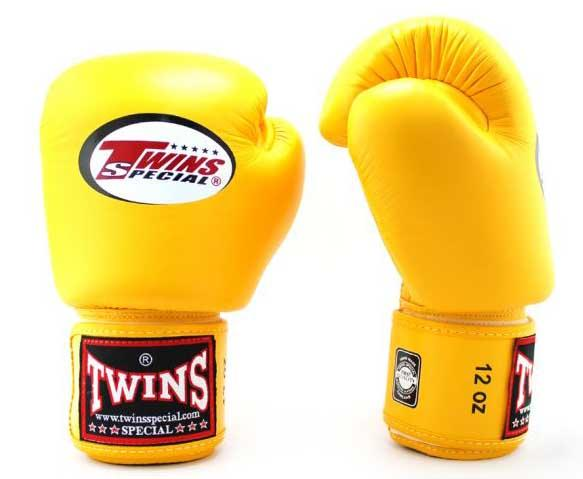 Yellow Twins Boxing Gloves - Velcro Wrist - Image 1