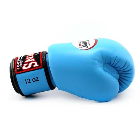 Light Blue Twins Boxing Gloves - Velcro Wrist - Image 3