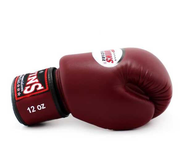Maroon Twins Boxing Gloves - Velcro Wrist - Image 3