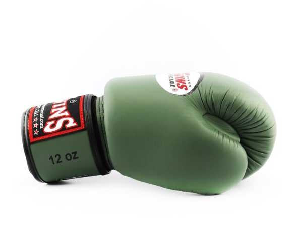 Olive Twins Boxing Gloves - Velcro Wrist - Image 3