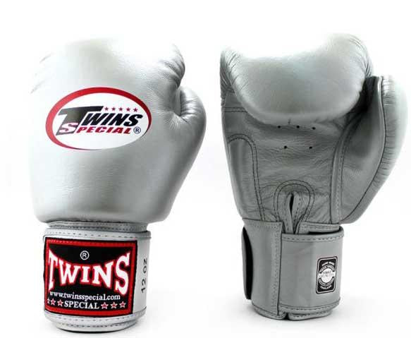 Silver Twins Boxing Gloves - Velcro Wrist - Image 3