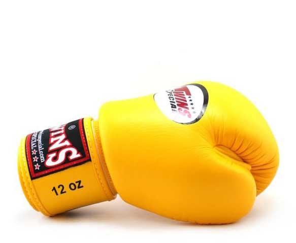 Yellow Twins Boxing Gloves - Velcro Wrist - Image 3