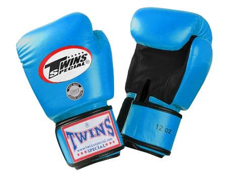 Twins Boxing Gloves- Dual Color - Black Light Blue - Premium Leather w/ Velcro