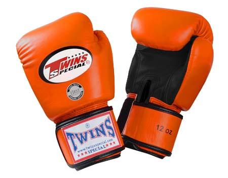 Twins Boxing Gloves- Dual Color - Black Orange - Premium Leather w/ Velcro