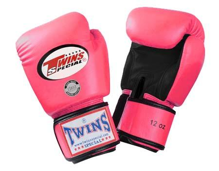 Twins Boxing Gloves- Dual Color - Black Pink - Premium Leather w/ Velcro
