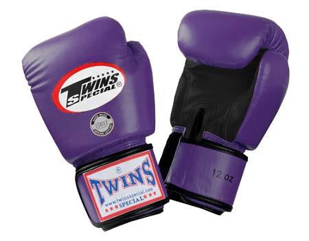 Twins Boxing Gloves- Dual Color - Black Purple - Premium Leather w/ Velcro