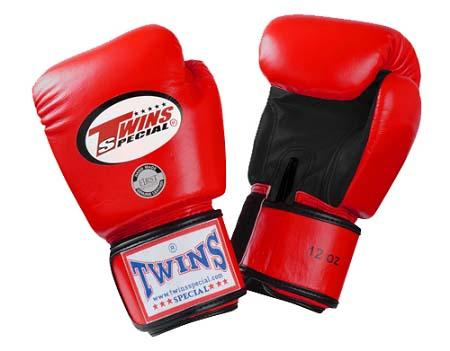 Twins Boxing Gloves- Dual Color - Black Red  Premium Leather w/ Velcro