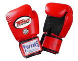 Twins Boxing Gloves- Dual Color - Black Red - Premium Leather w/ Velcro