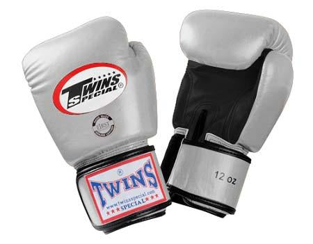 Twins Boxing Gloves- Dual Color - Black Silver - Premium Leather w/ Velcro