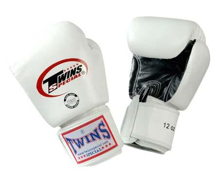 Twins Boxing Gloves- Dual Color - Black White - Premium Leather w/ Velcro