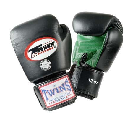 Twins Boxing Gloves- Dual Color - Green Black  Premium Leather w/ Velcro