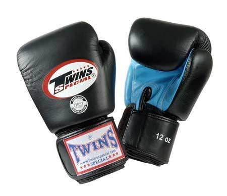 Twins Boxing Gloves- Dual Color - Light Blue Black - Premium Leather w/ Velcro