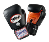 Twins Boxing Gloves- Dual Color - Orange Black - Premium Leather w/ Velcro