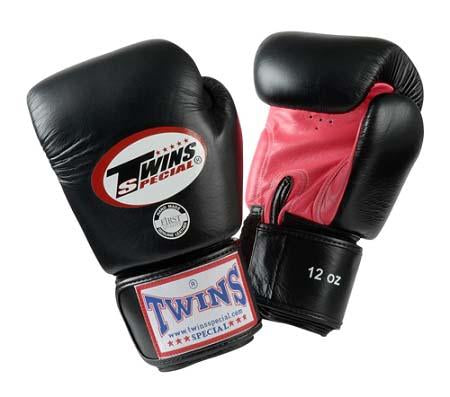 Twins Boxing Gloves- Dual Color - Pink Black - Premium Leather w/ Velcro