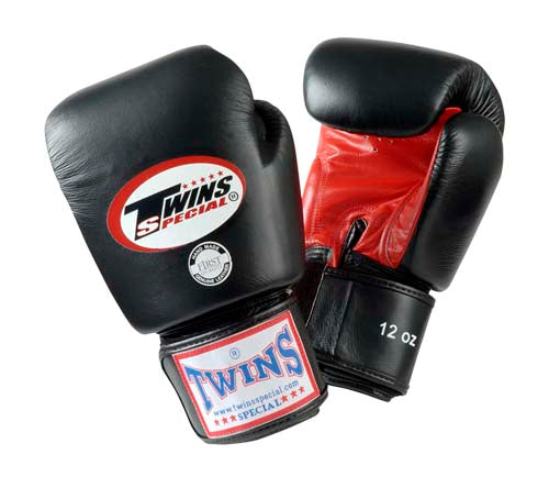 Twins Boxing Gloves- Dual Color- Premium Leather w/ Velcro - Black Fist, Purple, Blue, Green, Red Palm