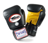 Twins Boxing Gloves- Dual Color - Yellow Black - Premium Leather w/ Velcro
