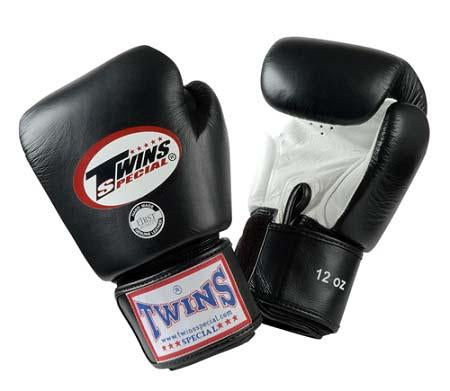 Twins Boxing Gloves- Dual Color - White Black - Premium Leather w/ Velcro
