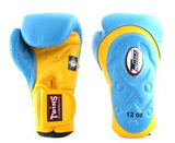 Twins Yellow-Light Blue Dual Color Boxing Gloves - Extended Cuff Velcro Wrist - Image 2