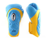 Twins Yellow-Light Blue Dual Color Boxing Gloves - Extended Cuff Velcro Wrist - Image 1