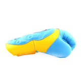 Twins Yellow-Light Blue Dual Color Boxing Gloves - Extended Cuff Velcro Wrist - Image 3