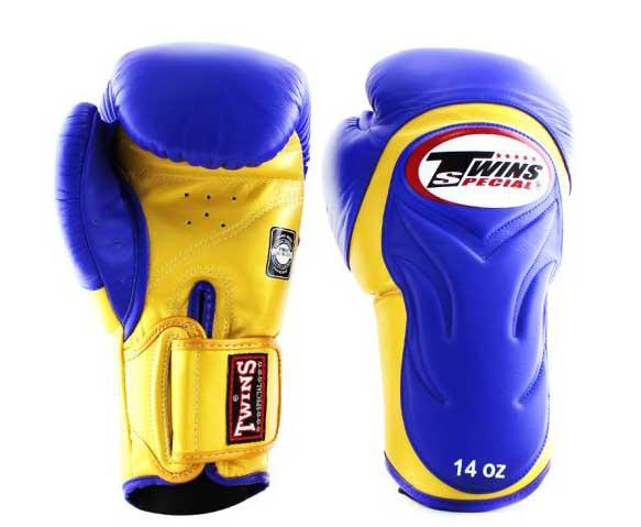 Twins Yellow-Blue Dual Color Boxing Gloves - Extended Cuff Velcro Wrist