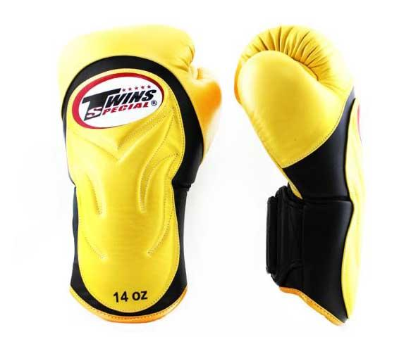 Twins Black-Gold Dual Color Boxing Gloves - Extended Cuff Velcro Wrist