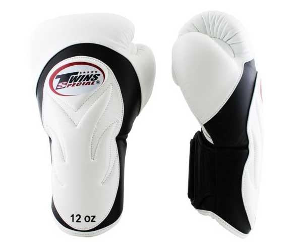 Twins Black-White Dual Color Boxing Gloves - Extended Cuff Velcro Wrist